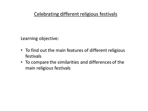 Introduction to religious festivals