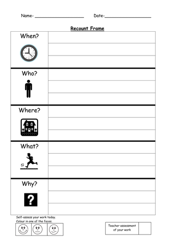 Who What Where When Worksheets : Recount writing frame by ruthbentham teaching resources