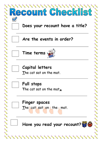 Recount Writing Checklist By Ruthbentham Teaching