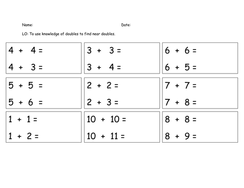 Near doubles worksheet by GabbyPeterson Teaching Resources Tes – Doubles Worksheets