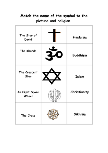 Symbols World Religions Activity 6122168 on Islam Worksheets For Middle School