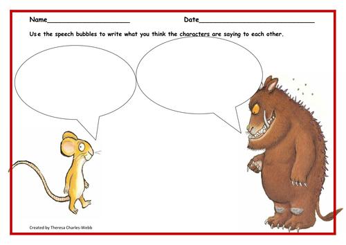 Gruffalo Speech Bubbles 6122180 on Character Education Worksheets