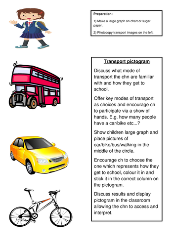 Transport pictogram images and activity