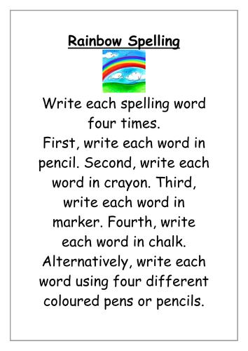 Rainbow Spellings | Teaching Resources