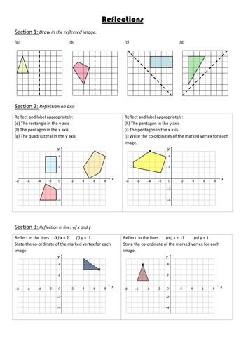 Reflections Worksheets Differentiated By Missehoney Teaching