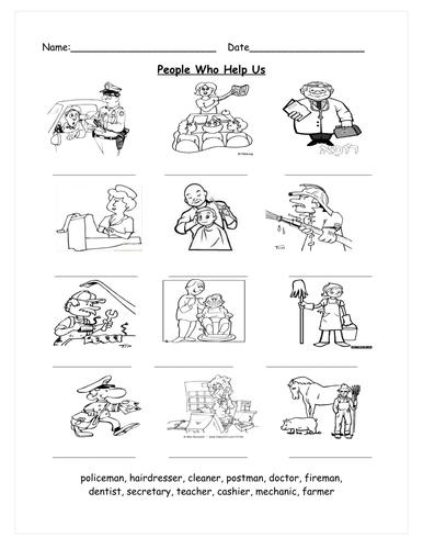 Worksheets For People : Jobs people who help us worksheet by mrsbourdon