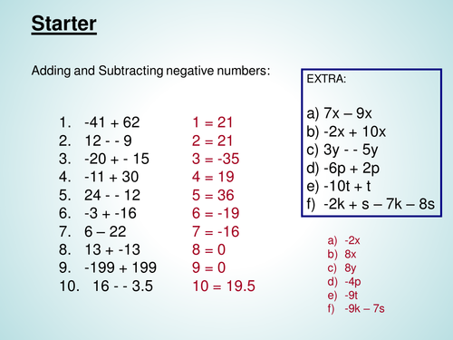 Adding and subtracting negative numbers by misskallison - Teaching ...