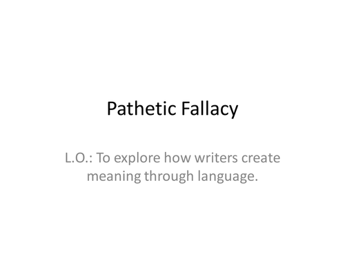 Pathetic Fallacy By Laurahoneybee Teaching Resources Tes