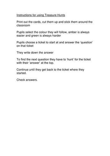 Ratio Worded Questions Treasure Hunt Game