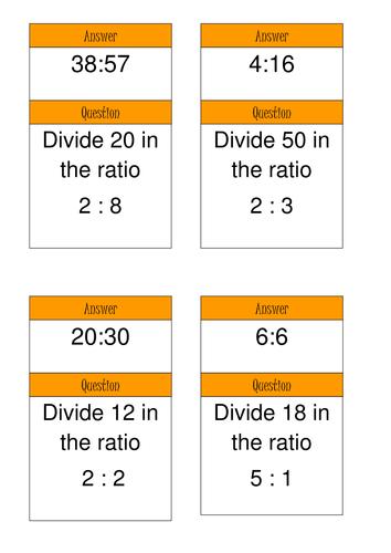 KS3 Maths Sharing in a ratio Treasure Hunt Game