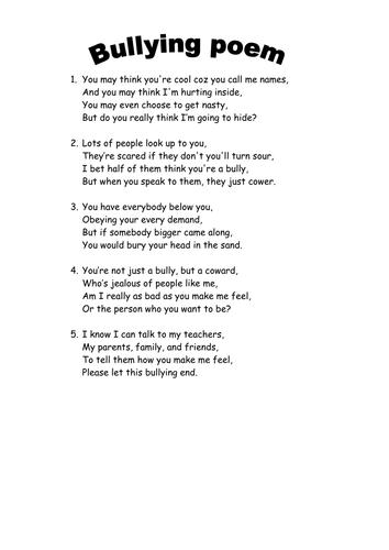 Anti bullying poem | Teaching Resources