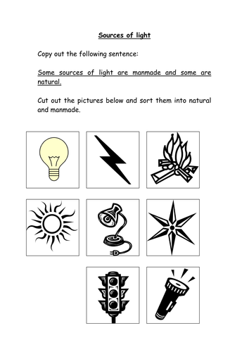 Printables Natural And Artificial Sources Of Light Worksheet natural and artificial sources of light worksheet precommunity worksheets mysticfudge manmade natural