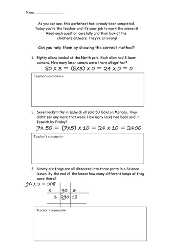 Be The Teacher Correct Multiplication Errors By Mrsbradley