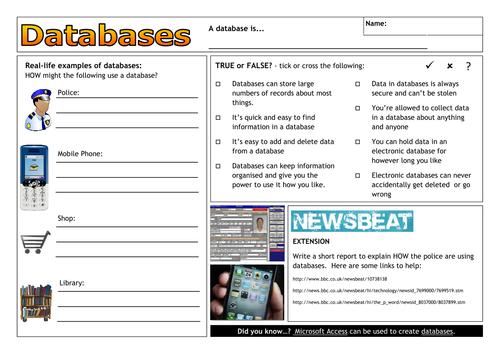 Database worksheet, defining and creating