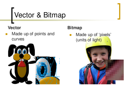 The difference between bitmap and vector graphics