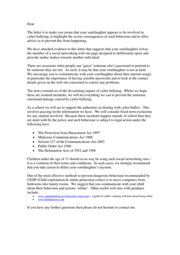 Letter outline informing parents of cyberbullying