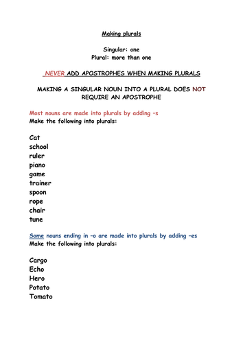 Making Plurals Spelling Worksheet By Rebeccahwilliams Teaching