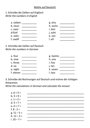German Numbers by amymeganbrown - Teaching Resources - Tes