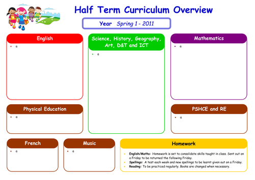 Curriculum Overview for Parents Template
