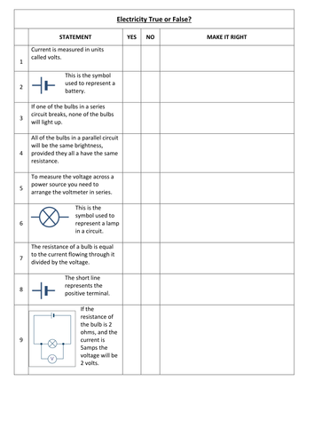 Electricity Worksheet