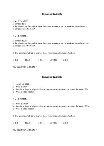 recurring decimals structured worksheet by nottcl teaching resources tes. Black Bedroom Furniture Sets. Home Design Ideas