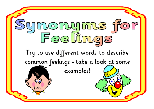 Synonyms For Feelings By Nahall Teaching Resources Tes