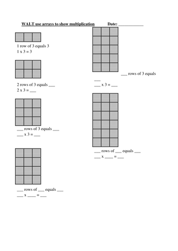 Using Arrays To Show Multiplication By Primaryteacheruk