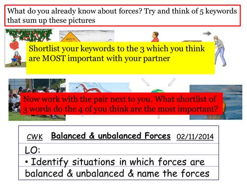 Balanced & unbalancd forces powerpoint