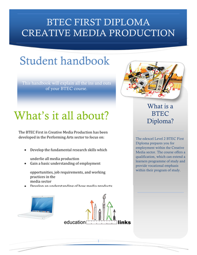 BTEC FIRST CREATIVE MEDIA  STUDENT HANDBOOK