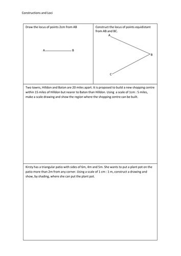 Constructions and Loci - write on worksheet by nottcl - Teaching ...