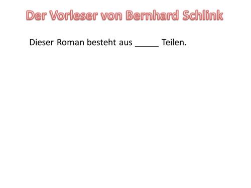 Introduction to Der Vorleser (The Reader)
