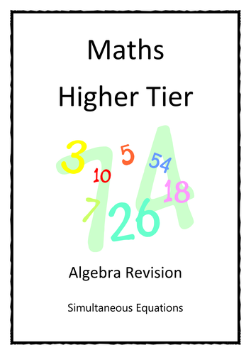 Revision Booklet - Simultaneous Equations