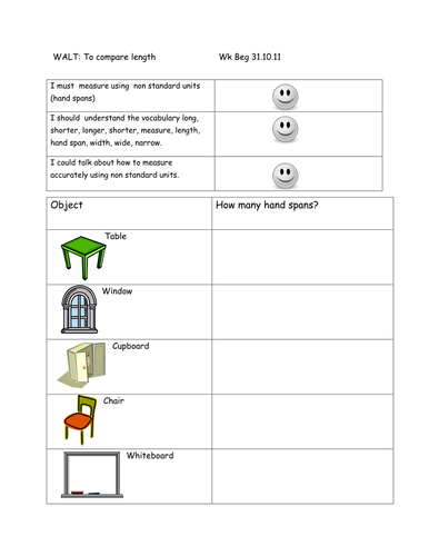 Measuring In Hand Spans By Sarahdawnrees Teaching Resources