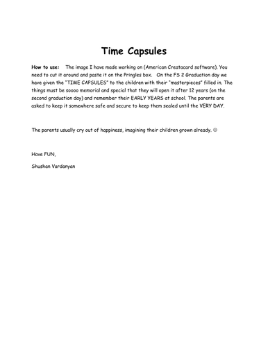 Time Capsule by shushan | Teaching Resources