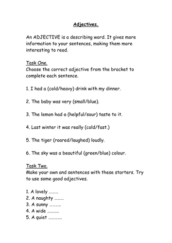 Year 2 Worksheets Adjectives Teaching Resources