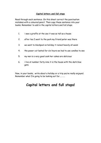 Full Stops and capital Letters by ahorsecalledarchie - Teaching ...