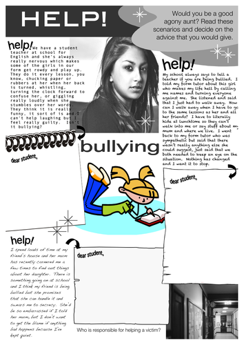 Bullying - Problem Page Worksheet by starfish1954 - Teaching ...