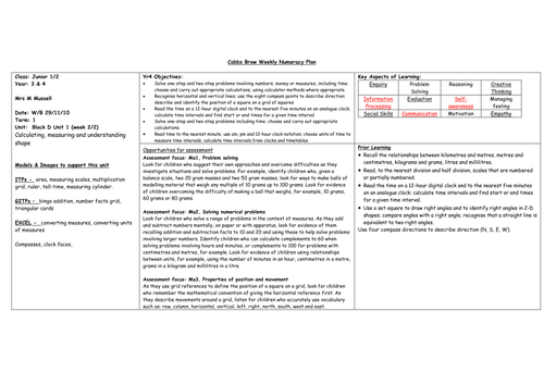 Block D Unit 1 numeracy planning for Year 4 by