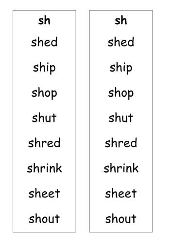 wordlist sh ch th words by ruthbentham teaching resources tes