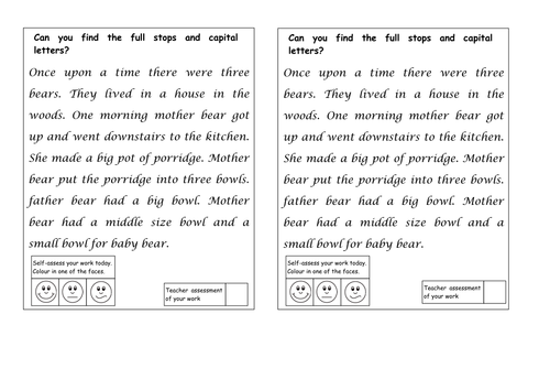 Full Stops and capital Letters by ahorsecalledarchie Teaching – Proofreading Marks Worksheet