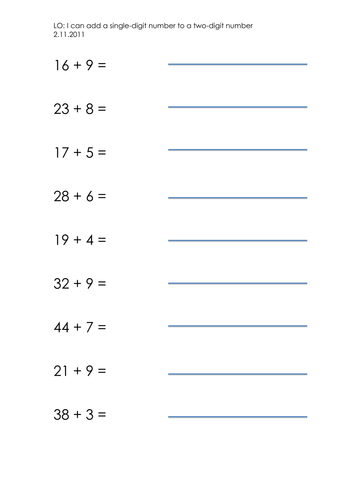 Adding 2 Digit Numbers Worksheet Ks1: adding a singledigit to a twodigit number by jacq23 teaching ,