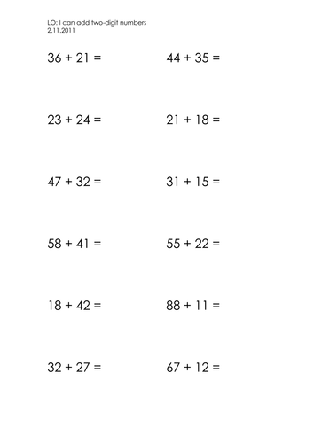 Worksheets Adding Two Digit Numbers Worksheets adding two digit numbers by jacq23 teaching resources tes