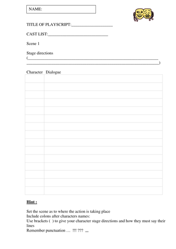 Playscript templates by ahorsecalledarchie - Teaching Resources - Tes