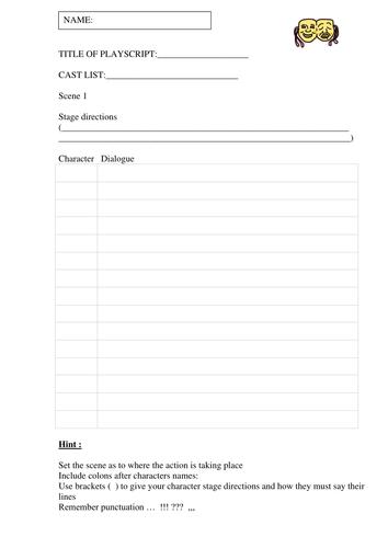 playscript templates by ahorsecalledarchie teaching resources tes. Black Bedroom Furniture Sets. Home Design Ideas