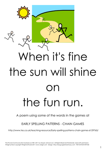 Early spelling patterns - chain games