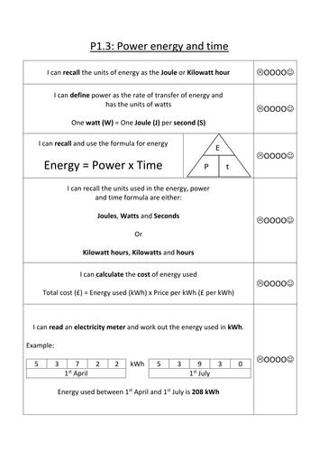 AQA P1.3 Power, energy and time summary sheet