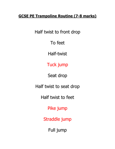 Gcse Pe Trampoline Routines By Tomcollier Teaching
