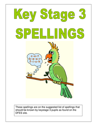 Key stage 3 spellings