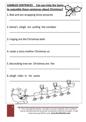 Christmas Theme: Jumbled Sentences