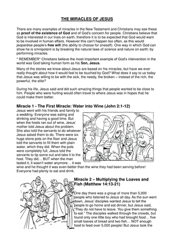 The Miracles Of Jesus By Mariannedaniell Teaching Resources Tes